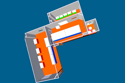 3D plan of clean room for IWKA equipment