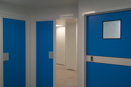 Corridor of the operating theater and IFV laboratory Genesys Clinic in Bucharest, Romania -view 02